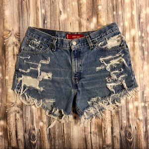 Levi's 517 destroyed high waisted cut off shorts